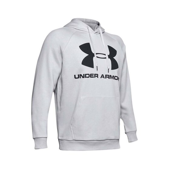 Under Armour Men's Rival Fleece Logo Hoodie Halo Grey / Black S, Halo Grey / Black, bcf_hi-res