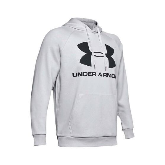Under Armour Men's Rival Fleece Logo Hoodie Halo Grey / Black XL, Halo Grey / Black, bcf_hi-res