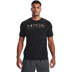Under Armour Men's Fish Strike Short Sleeve Tee, Black / UA Barren Camo, bcf_hi-res