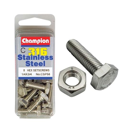 Champion Hex Screw Set 1/4 x 3/4, , bcf_hi-res