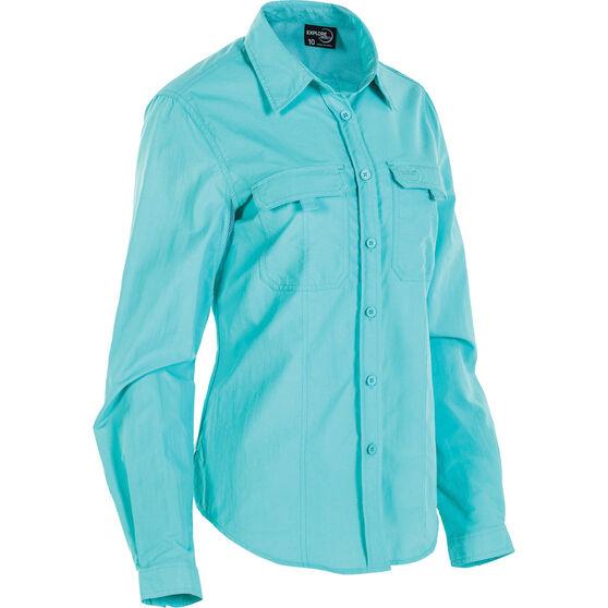 Explore 360 Women's Vented Long Sleeve Fishing Shirt Aqua 18, Aqua, bcf_hi-res