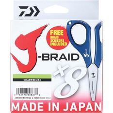 Daiwa J-Braid X8 Chartreuse Braid Line with Scissors 300m, Chartreuse, bcf_hi-res