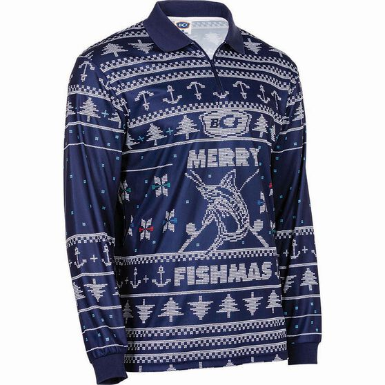 BCF Men's Fishmas Sublimated Polo Navy XXS, Navy, bcf_hi-res