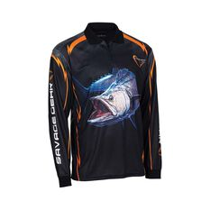 Savage Men's Spanish Mackerel Sublimated Polo Black S, Black, bcf_hi-res