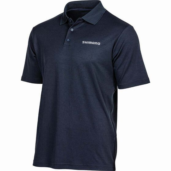 Shimano Men's Polo Shirt Navy S, Navy, bcf_hi-res