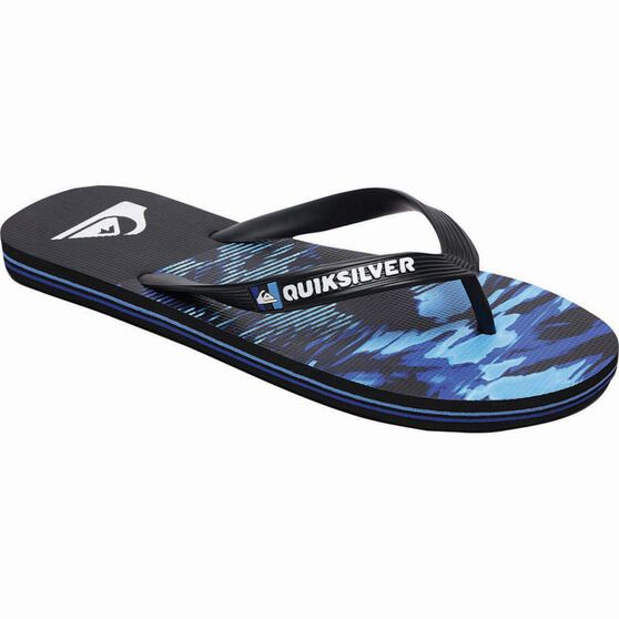 Quiksilver Waterman Men's Molokai Night Marcher Thongs, Black / Blue, bcf_hi-res