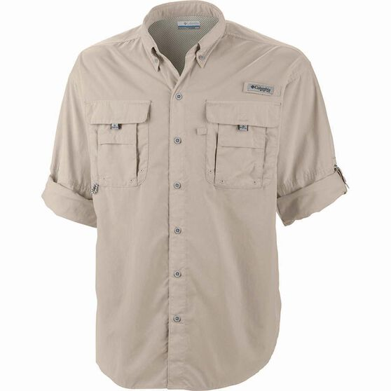 Columbia Men's Bahama II Long Sleeve Fishing Shirt Fossil XL Men's, Fossil, bcf_hi-res