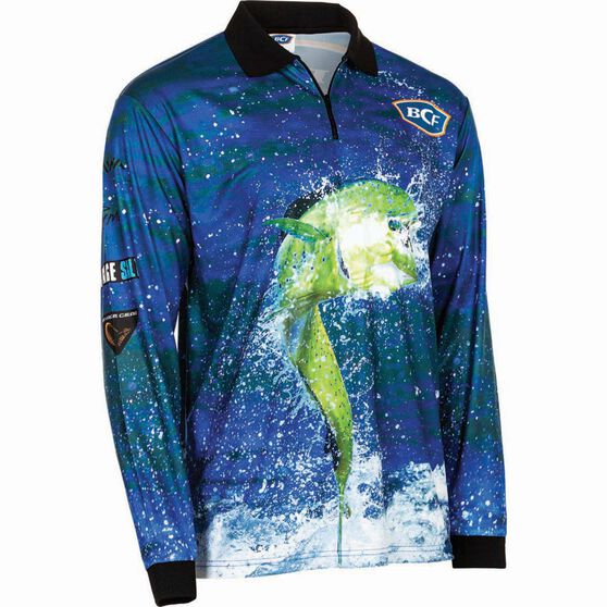 BCF Men's Mahi Sublimated Polo Blue M, Blue, bcf_hi-res