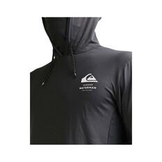 Quiksilver Waterman Men's Angler Hooded Long Sleeve Rash Vest, Black, bcf_hi-res