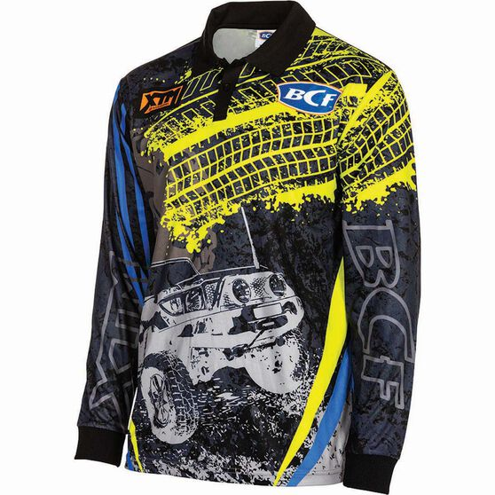 BCF Men's 4WD Sublimated Polo Blue / Yellow 3XL, Blue / Yellow, bcf_hi-res