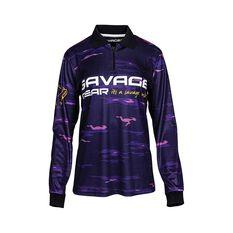 Savage Gear Womens Squad Camo Sublimated Polo Purple 8, Purple, bcf_hi-res