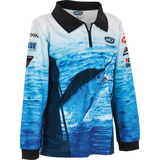 BCF Kids' Marlin Sublimated Polo Blue 6, Blue, bcf_hi-res