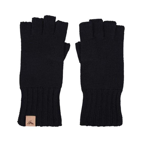 Macpac Unisex Fingerless Merino Gloves, Black, bcf_hi-res