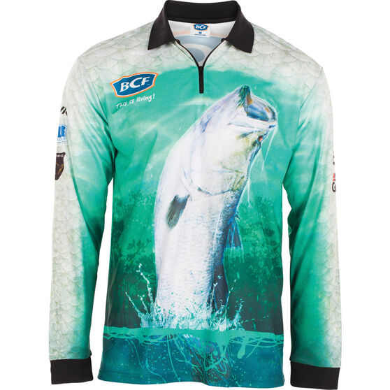 BCF Men's Barra Jump Sublimated Polo, Green, bcf_hi-res