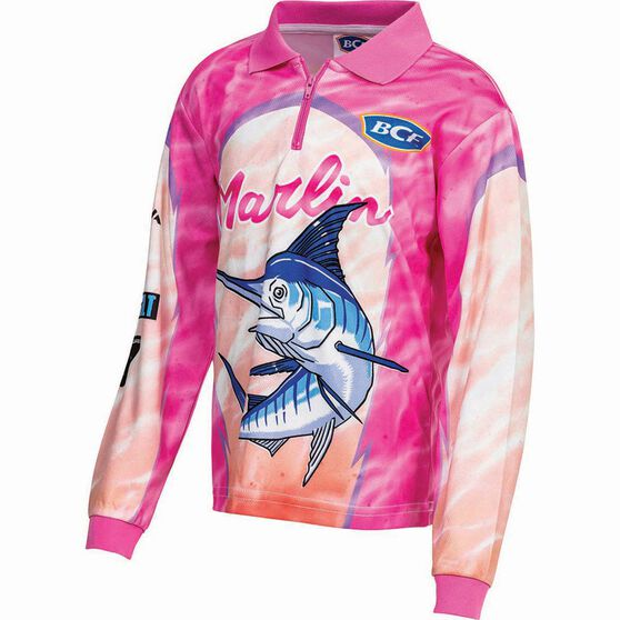 BCF Kids' Marlin Sublimated Polo Pink 12, Pink, bcf_hi-res