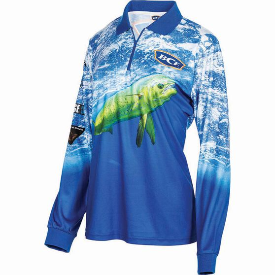 BCF Women's Mahi Sublimated Polo Blue 12, Blue, bcf_hi-res