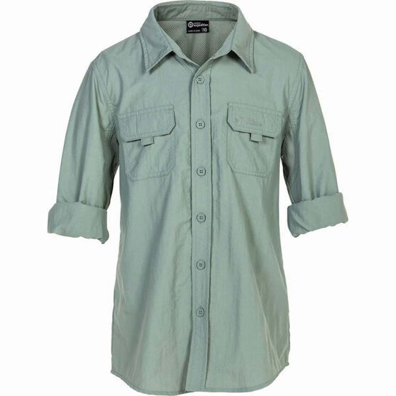 Outdoor Expedition Kid's Vented Long Sleeve Fishing Shirt 12 Iron 12, Iron, bcf_hi-res