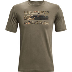 Under Armour Men's Stacked Logo Fill Short Sleeve Tee Victory Green / UA Forest All Season Camo S, Victory Green / UA Forest All Season Camo, bcf_hi-res