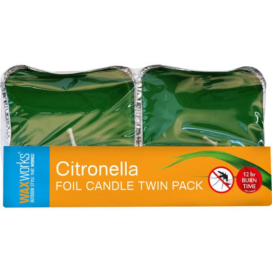 Waxworks Foil Citronella Candle 2 Pack, , bcf_hi-res