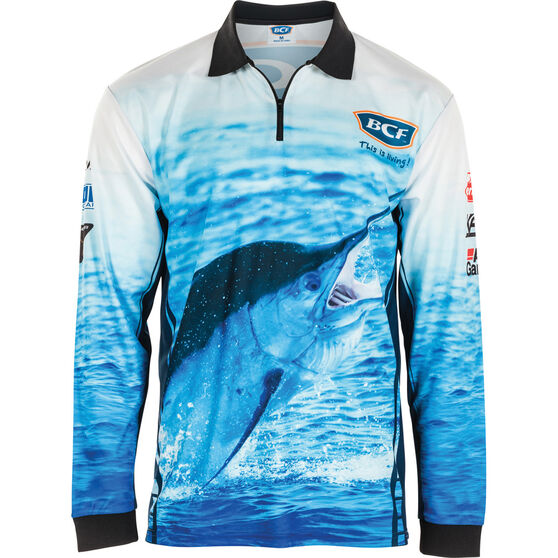 BCF Men's Marlin Sublimated Polo, Blue, bcf_hi-res