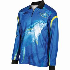 BCF Men's Yellowfin Tuna Sublimated Polo Blue S, Blue, bcf_hi-res