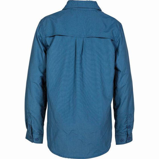 Outdoor Expedition Kids' Vented Long Sleeve Shirt Dark Blue 14, Dark Blue, bcf_hi-res