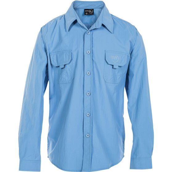 Explore 360 Kids' Vented Long Sleeve Fishing Shirt Blue 4, Blue, bcf_hi-res