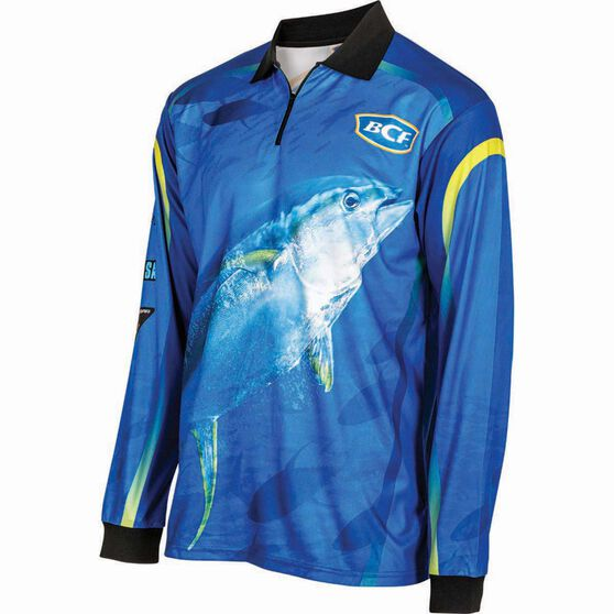 BCF Men's Yellowfin Tuna Sublimated Polo Blue XL, Blue, bcf_hi-res
