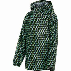 OUTRAK Printed Packaway Rain Jacket Black / Green 4, Black / Green, bcf_hi-res