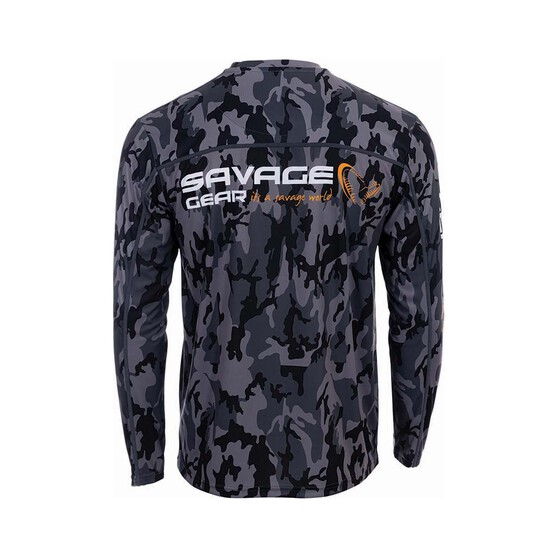 Savage Gear Men's Long Sleeve Sublimated Polo, Grey Camo, bcf_hi-res