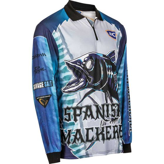 BCF Men's Spanish Mackerel Sublimated Polo Blue S, Blue, bcf_hi-res