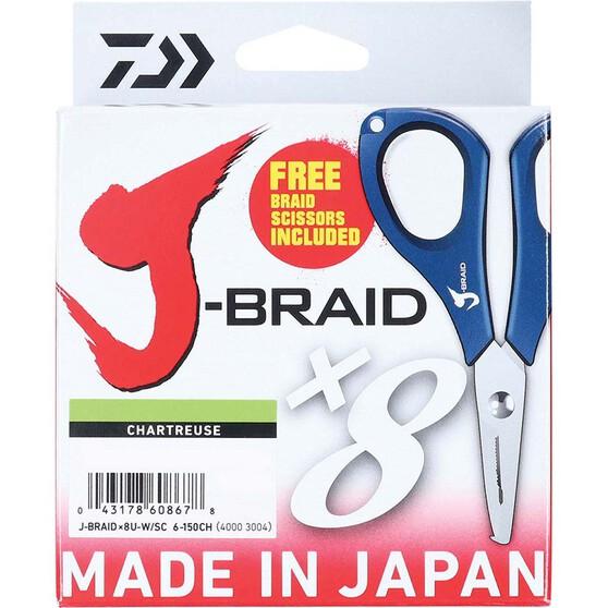 Daiwa J-Braid X8 Chartreuse Braid Line with Scissors 150m, Chartreuse, bcf_hi-res