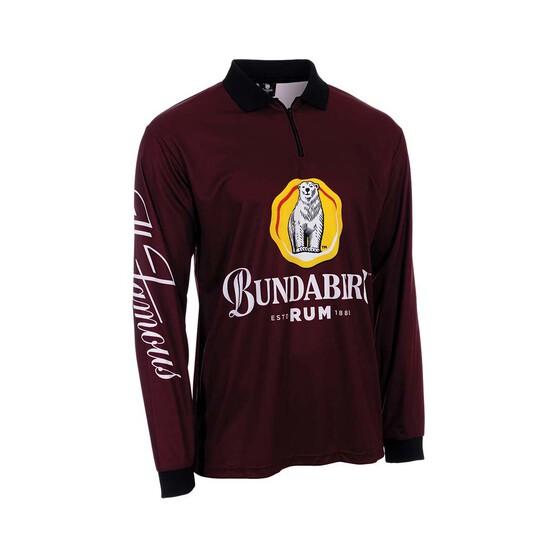 Bundaberg Rum Men's Centered Logo Sublimated Polo, Maroon, bcf_hi-res