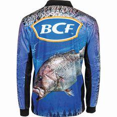 BCF Men's Dhufish Sublimated Polo Blue S, Blue, bcf_hi-res