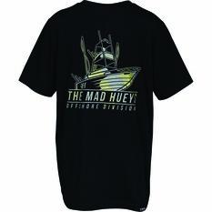 The Mad Hueys Kids Offshore Camo Short Sleeve UV Tee, Black, bcf_hi-res