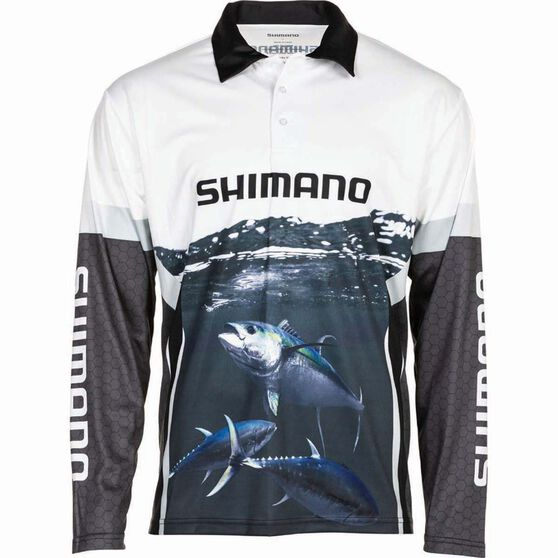 Shimano Men's Tuna Sublimated Polo, Black / Navy / White, bcf_hi-res