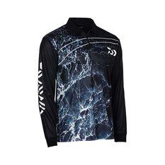 Daiwa Men's Storm Sublimated Polo, Black, bcf_hi-res
