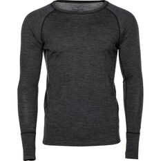 Men's Merino Long Sleeve Top, Charcoal Marle, bcf_hi-res