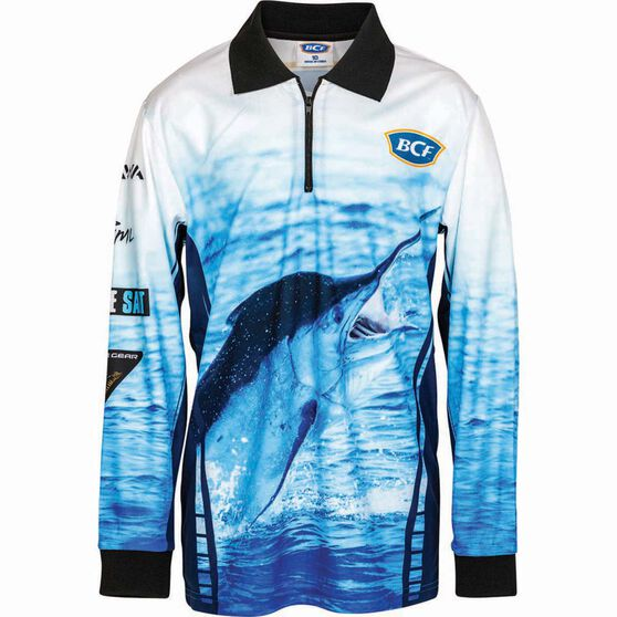BCF Kids' Marlin Sublimated Polo Blue 16, Blue, bcf_hi-res